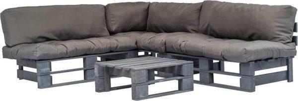4-delige Loungeset - Pallet met grijze kussens - FSC hout - (incl. Fleecedeken)