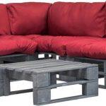 4-delige Loungeset – Pallet met rode kussens – FSC hout – (incl. Fleecedeken)