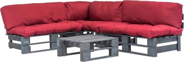 4-delige Loungeset - Pallet met rode kussens - FSC hout - (incl. Fleecedeken)