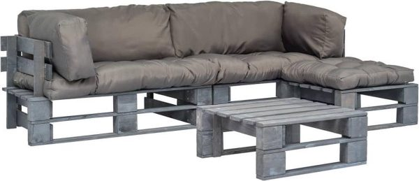 4-delige Loungeset pallet met grijze kussens FSC hout