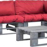 4-delige Loungeset pallet met rode kussens FSC hout