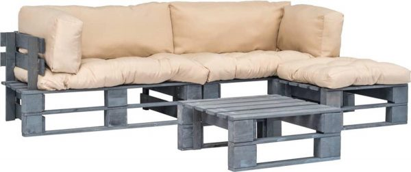 4-delige Loungeset pallet met zandkleurige kussens FSC hout