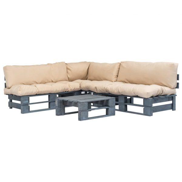4-delige Loungeset pallet met zandkleurige kussens hout