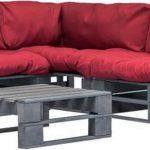 6-delige Loungeset pallet met rode kussens FSC hout