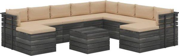 Medina 11-delige Loungeset met kussens pallet massief grenenhout