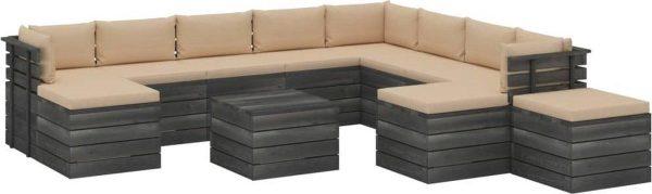 Medina 12-delige Loungeset met kussens pallet massief grenenhout