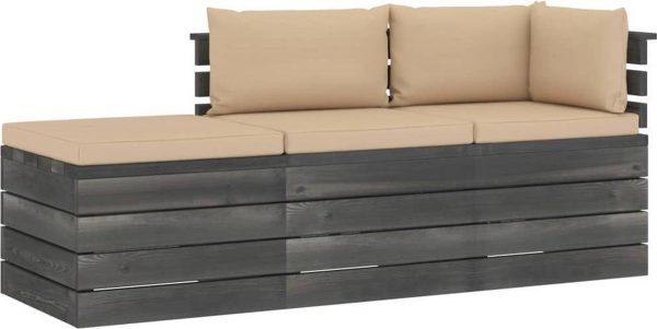 Medina 3-delige Loungeset met kussens pallet massief grenenhout