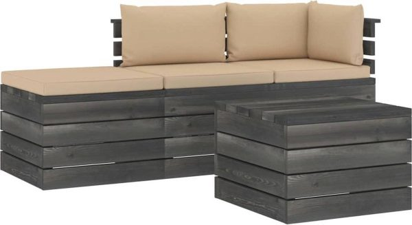 Medina 4-delige Loungeset met kussens pallet massief grenenhout