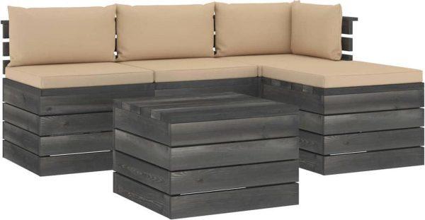 Medina 5-delige Loungeset met kussens pallet massief grenenhout