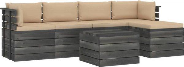 Medina 6-delige Loungeset met kussens pallet massief grenenhout