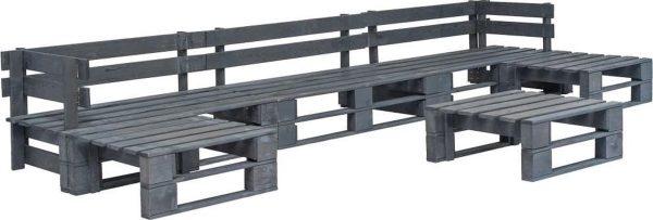 Medina 6-delige Loungeset pallet hout grijs