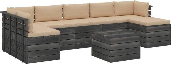 Medina 8-delige Loungeset met kussens pallet massief grenenhout