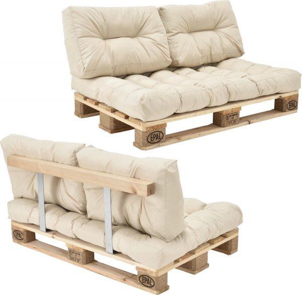 [en.casa]® Palletbank - tweezitsbank - pallet sofa beige