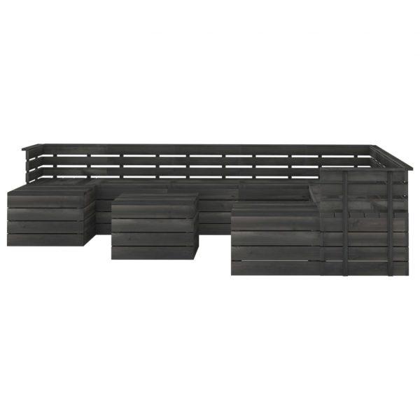 vidaXL 11-delige Loungeset pallet massief grenenhout donkergrijs