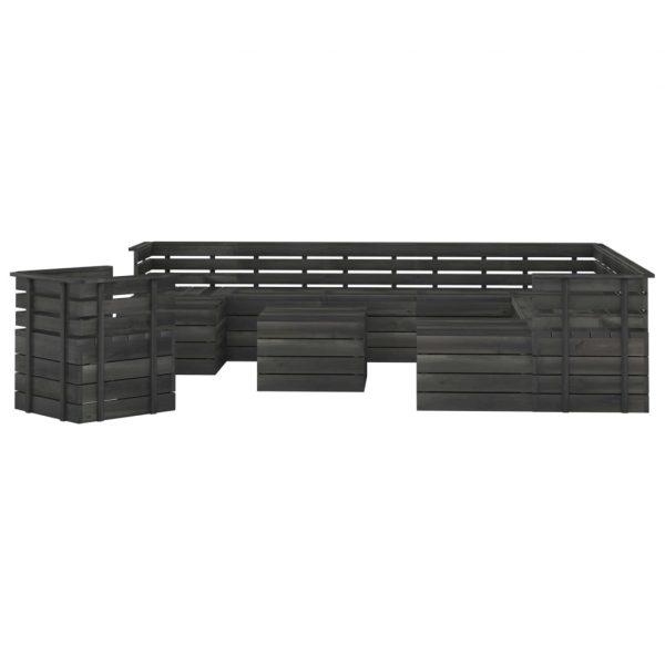 vidaXL 12-delige Loungeset pallet massief grenenhout donkergrijs