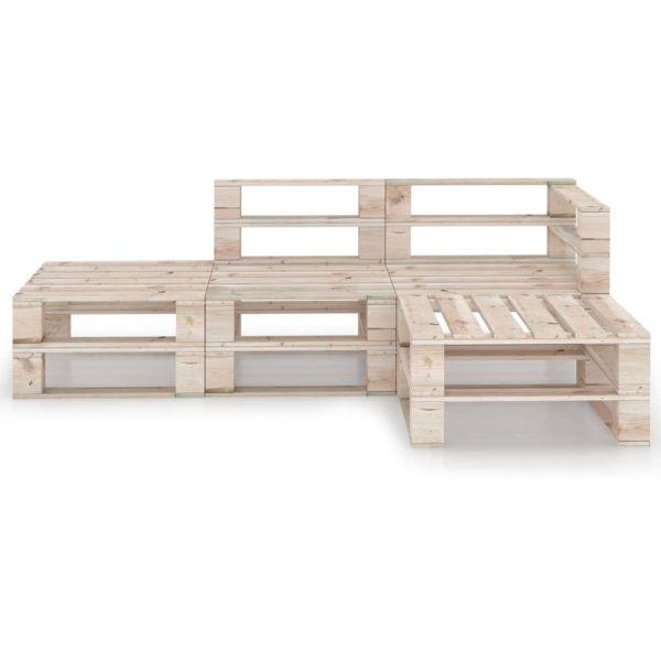 vidaXL 4-delige Loungeset pallet grenenhout