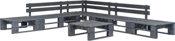 vidaXL 6-delige Loungeset pallet hout grijs