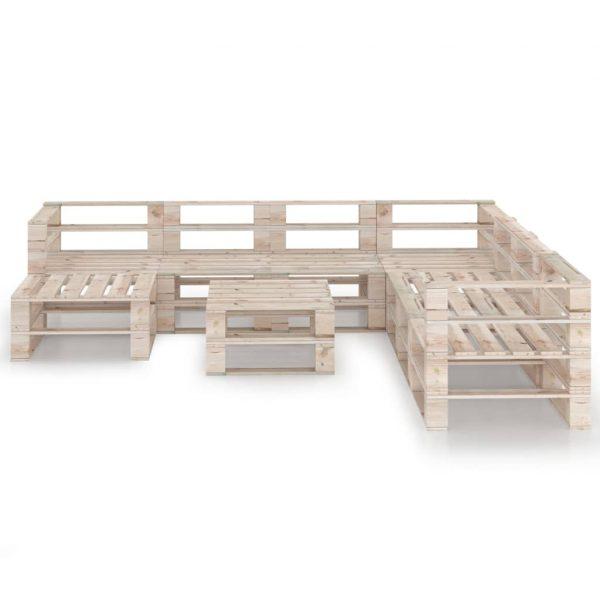 vidaXL 9-delige Loungeset pallet grenenhout