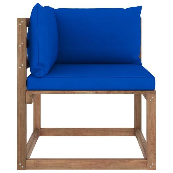 vidaXL Tuinhoekbank met blauwe kussens pallet